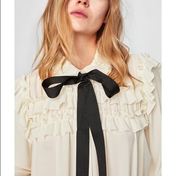4d1653bf68a Zara Ruffle Bow Tie Blouse - size XS